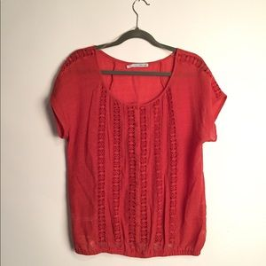 Maurice's orange dolman knit blouse EUC L